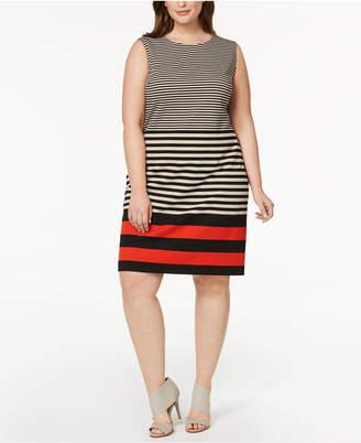 Calvin Klein Plus Size Mixed-Stripe Shift Dress