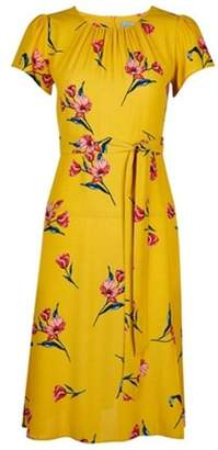 Dorothy Perkins Womens Petite Yellow Floral Print Midi Dress