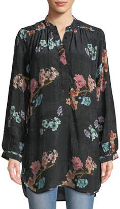 Tolani Natasha Botanical-Print Long-Sleeve Tunic