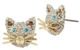 Betsey Johnson Just Kitten White, Blue Pink Crystal Cat Face Stud Earrings