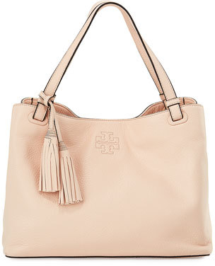 Tory Burch Thea Center-Zip Tote Bag w/ Tassels, Sweet Melon $495 thestylecure.com