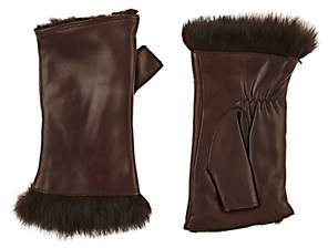 Barneys New York Women's Rabbit-Fur-Lined Leather Fingerless Gloves-Brown