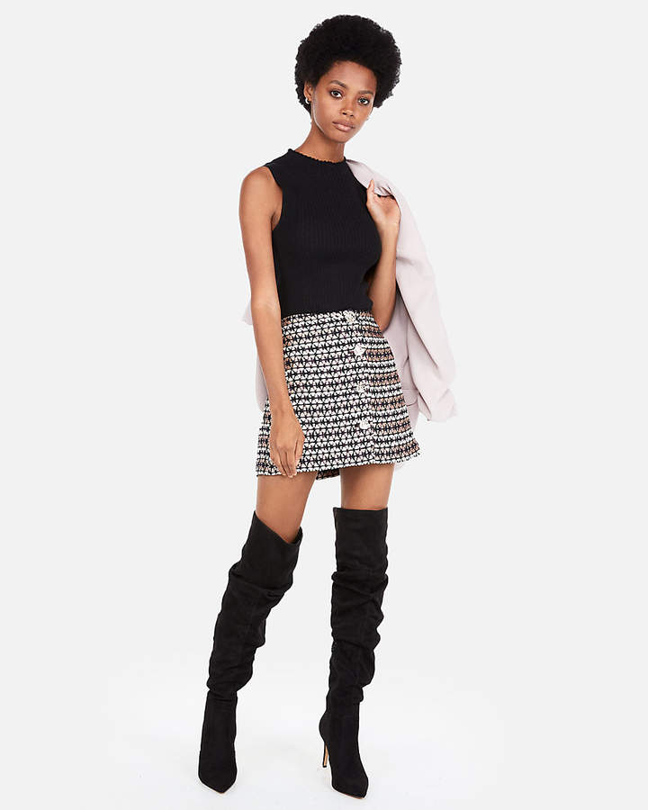 Express High Waisted Metallic Tweed A-Line Mini Skirt