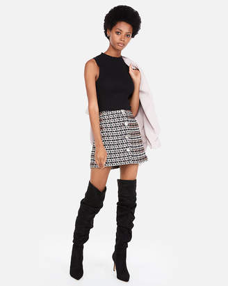 Express High Waisted Metallic Tweed A-Line Mini Skirt