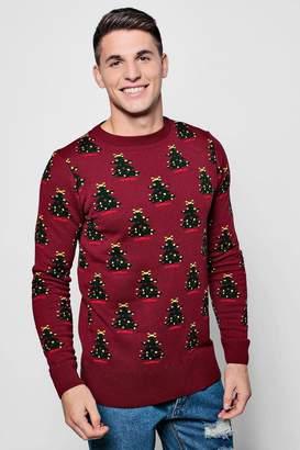 boohoo Christmas Tree Jacquard Jumper