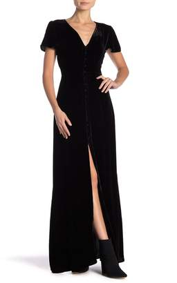 Hale Bob Silk Blend Short Sleeve Velvet Maxi Dress
