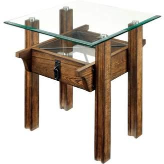 Furniture of America Layden Industrial End Table, Medium Weathered Oak
