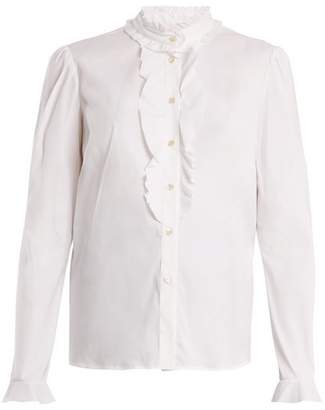 RED Valentino Ruffled Trim Cotton Blend Blouse - Womens - White