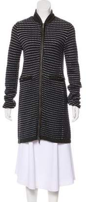 Tory Burch Leather-Trimmed Merino Wool Coat