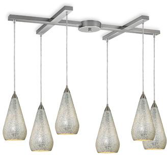 Bed Bath & Beyond ELK Lighting Curvalo 6-Light Pendant with Silver Crackle