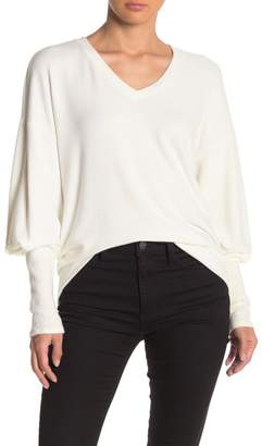 Michael Stars Blouson Sleeve V-Neck Brushed Jersey Sweater