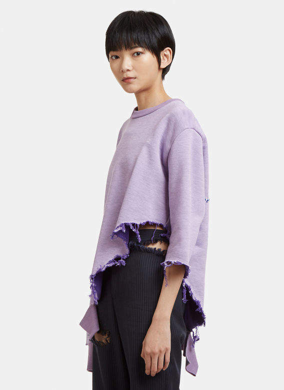 Destroyed Embroidered Sweater in Purple