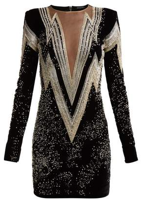Balmain - Crystal And Bead Embroidered Velvet Mini Dress - Womens - Black Silver