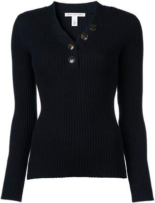 Autumn Cashmere rib button up sweater