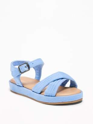 Old Navy Sueded Cross-Strap Platform Sandals for Toddler Girls