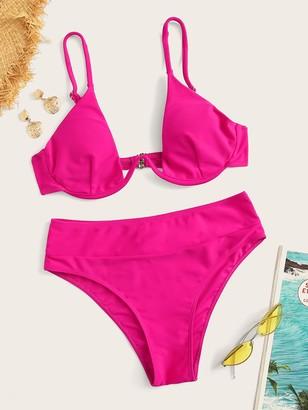 Shein Neon Hot Pink Underwire Bikini Set