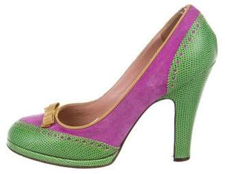 Marc Jacobs Lizard and Suede Platform Pumps