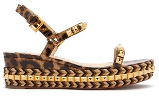 Christian Louboutin Cataclou 60 Leather Flatform Espadrille Sandals - Womens - Leopard