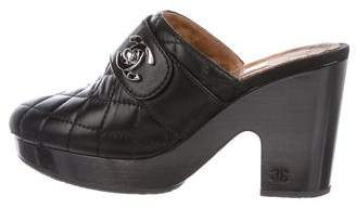 Chanel Quilted Turn-Lock Clogs