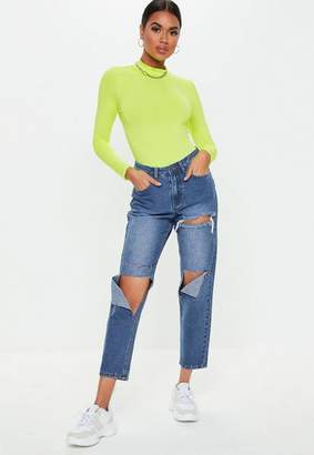 Missguided Blue Mid Wash High Rise Extreme Hang Down Rip Mom Jeans