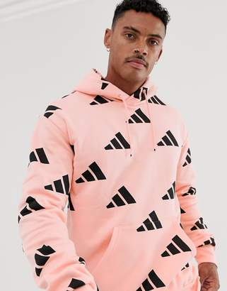 adidas Training graphic print hoodie in pink