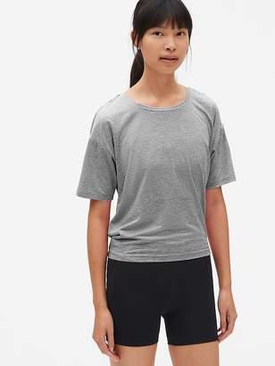 Gap GapFit Breathe Short Sleeve Stripe Open-Back T-Shirt