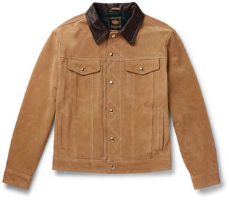 GoldenBear Golden Bear - The Holden Leather-Trimmed Suede Trucker Jacket - Men - Brown