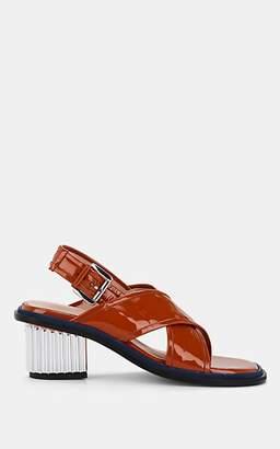 PLAN C Women's Patent Leather Crisscross-Strap Slingback Sandals - Orange