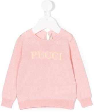 Emilio Pucci Junior logo intarsia sweater