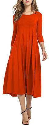 YMING Women's A-line Swing Midi Dress 3/4 Sleeve Splice Long Dresses M
