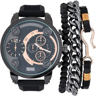 N. American Exchange MST5421 Black & Rose Gold-Tone Watch & Bracelet Set
