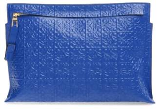 Loewe Large Logo Embossed Calfskin Leather Pouch