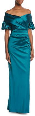 Rickie Freeman For Teri Jon Off-the-Shoulder Portrait Puff-Sleeve Taffeta Evening Gown