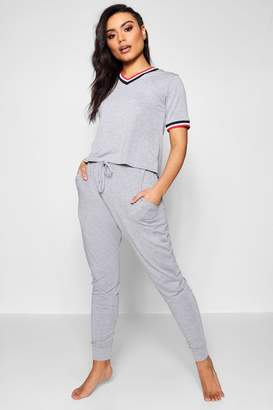 boohoo Sports Rib Detail Tshirt And Jogger Set