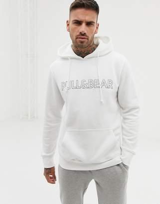 Pull&Bear logo hoodie in white