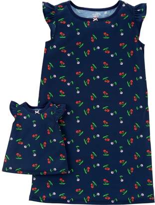 Carter's Girls 4-14 Printed Nightgown & Doll Nightgown Set
