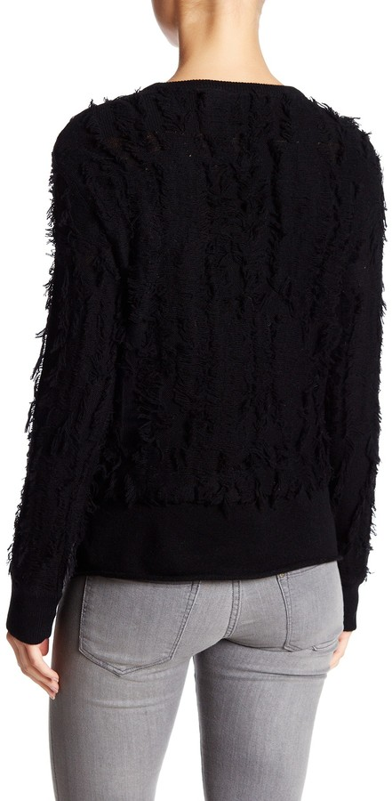 Inhabit Crew Neck Long Sleeve Wool Blend Frayed Sweater 2