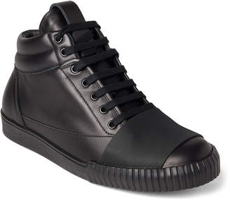 Marni Black Leather Mid-Top Sneakers