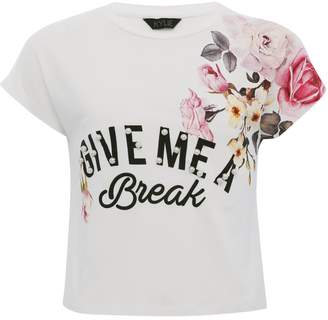 M&Co Teens' floral print pearl embellished t-shirt
