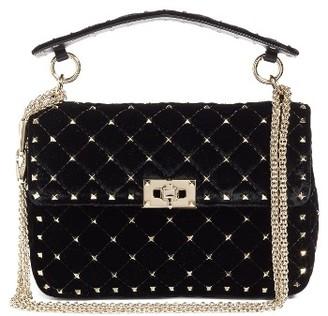 Valentino Rockstud Spike Velvet Shoulder Bag - Black $2,595 thestylecure.com