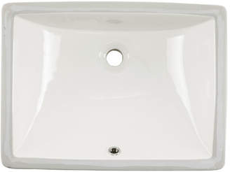 Soleil Glazed Vitreous China Rectangular Undermount Bathroom Sink with Overflow Sink