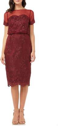JS Collections Lace Blouson Cocktail Dress
