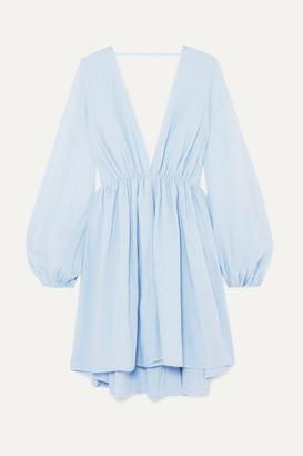 Kalita Aphrodite Gathered Cotton Mini Dress - Sky blue