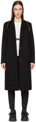 Alexander Wang Black Peaked Lapel Zip Coat