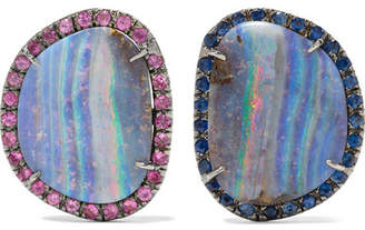 Kimberly McDonald - 18-karat Blackened White Gold, Opal And Sapphire Earrings