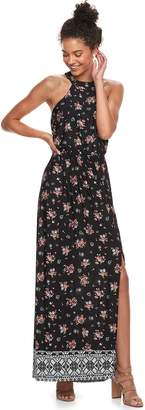 Trixxi Juniors' Floral Halter Maxi Dress