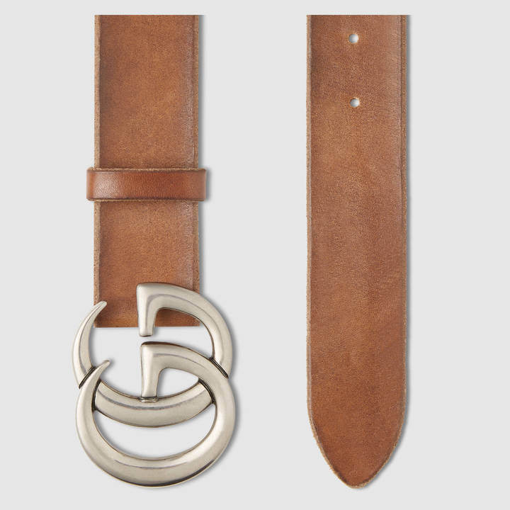Leather belt with double G buckle 8