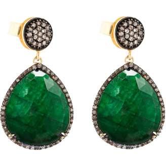 Liv Oliver Green Silver Gilt Earrings