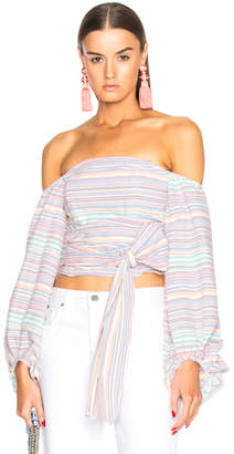 Nicholas Rainbow Off Shoulder Wrap Top