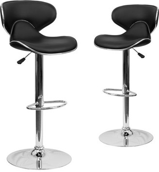 Flash Furniture Contemporary Cozy Mid-Back Vinyl Adjustable Height Stools, Set of 2, Multiple Colors